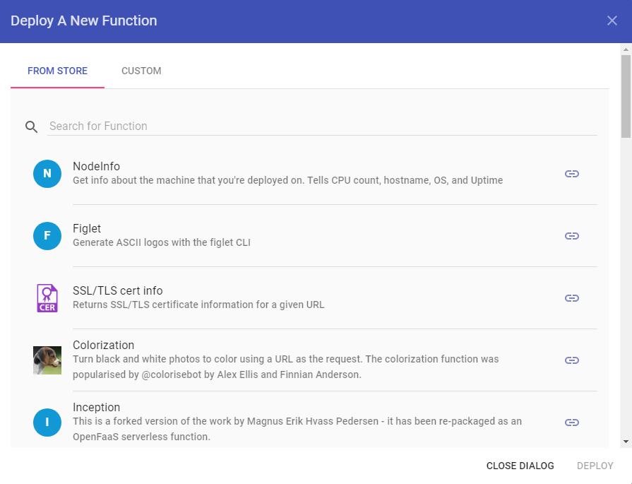OpenFaaS – Dialogfeld Bereitstellen einer neuen Funktion
