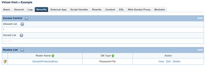 OpenLiteSpeed security realm list