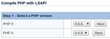 OpenLiteSpeed select PHP version