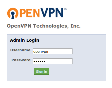 OpenVPN access admin login