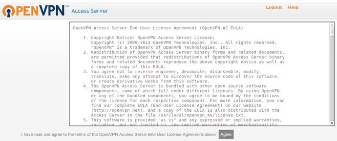 OpenVPN access EULA