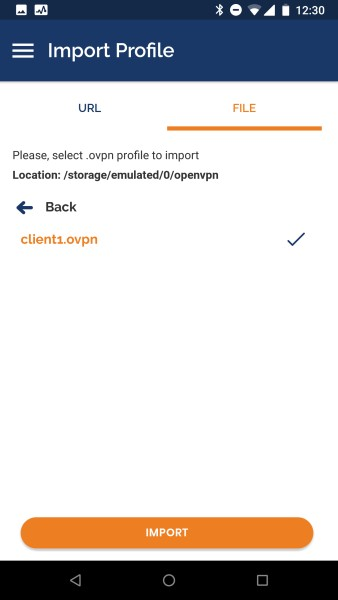 The OpenVPN Android app selecting VPN profile to import