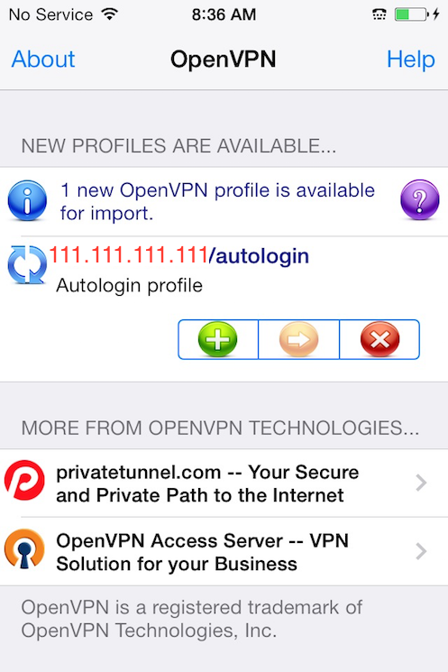 The OpenVPN iOS app showing new profile ready to import