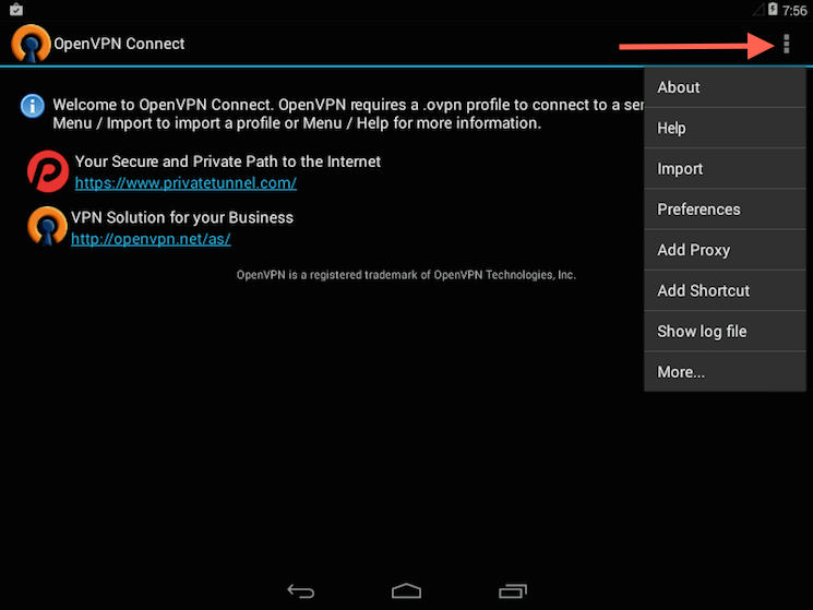 The OpenVPN Android app profile import menu selection