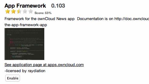 OwnCloud app framework