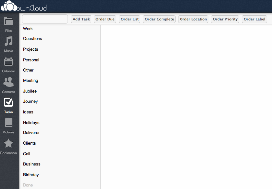 OwnCloud tasks interface