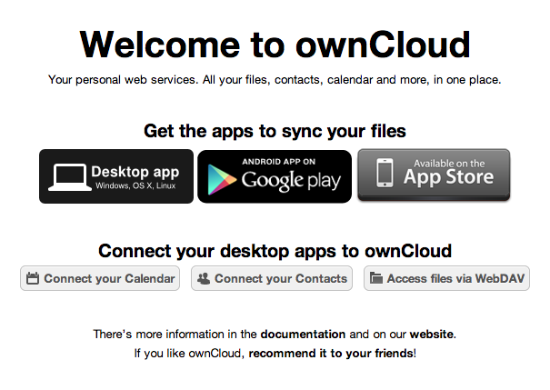 OwnCloud welcome page