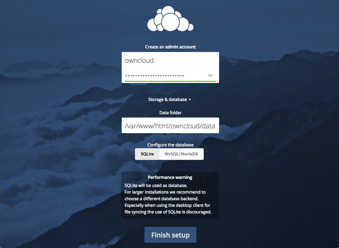 ownCloud Database Configure