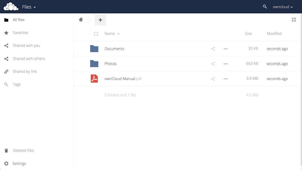 ownCloud Main Interface