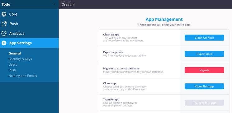 Parse App Settings: General: Migrate
