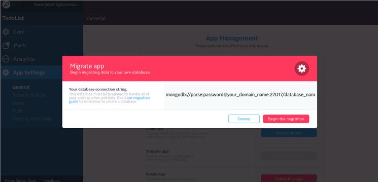 Parse App: Migration Dialog