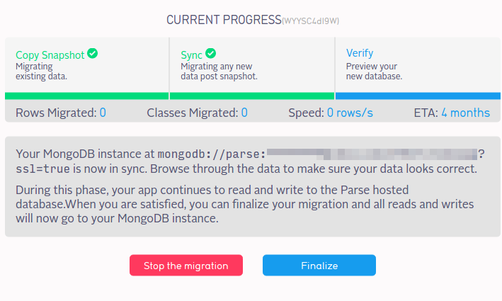 Parse App: Finished Migration, Waiting for Finalization