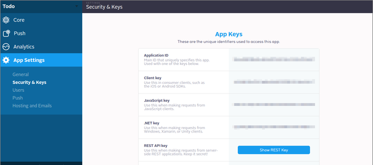 Parse Dashboard: App Settings: Security & Keys