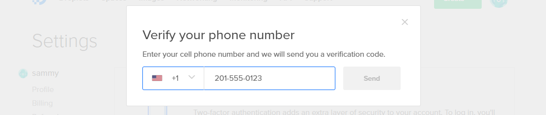 Screencap of the Verify your phone number screen
