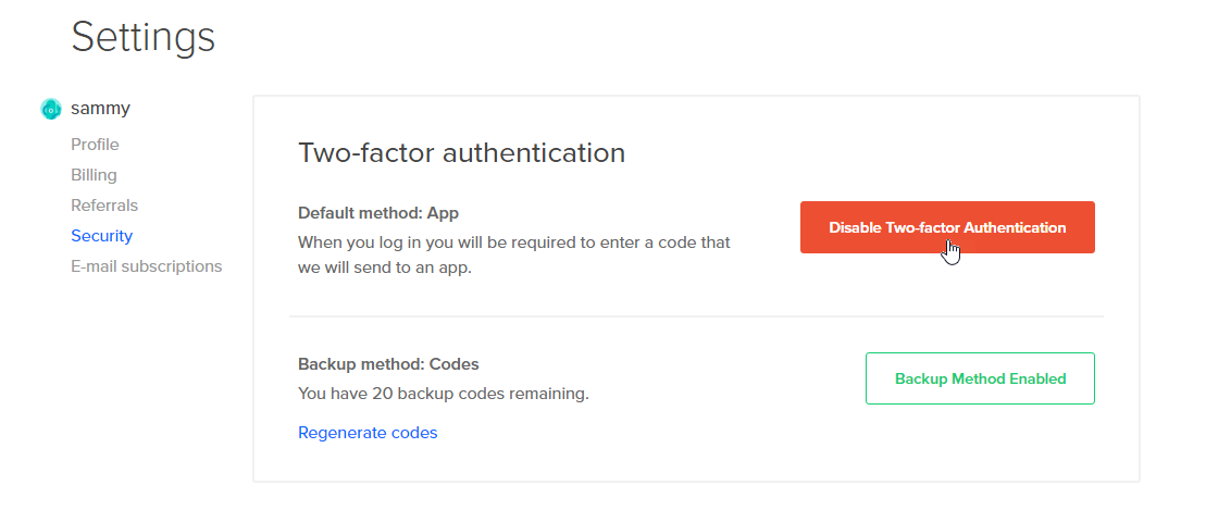 Image of the Disable Two-factor Authentication button highlighted