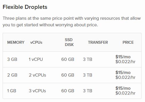 Screenshot showing 1vCPU/3GB RAM, 2vCPU/2 GB RAM, and 3vCPU/1 GB RAM options.