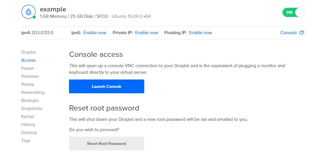 DigitalOcean reset root password