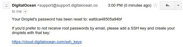 DigitalOcean password reset email