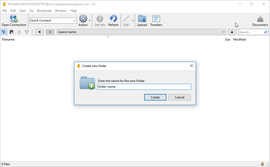 "Screenshot of the Create new folder dialogue with ""folder-name"" filled in."