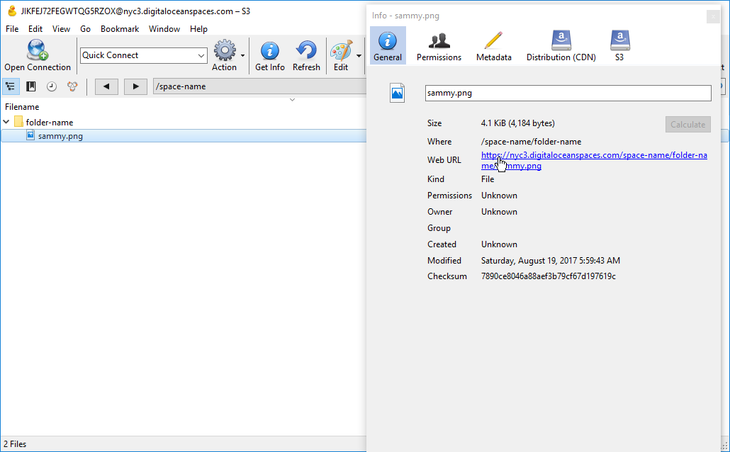 Screenshot of the Info tab's General Pane with the Web URL highlighted