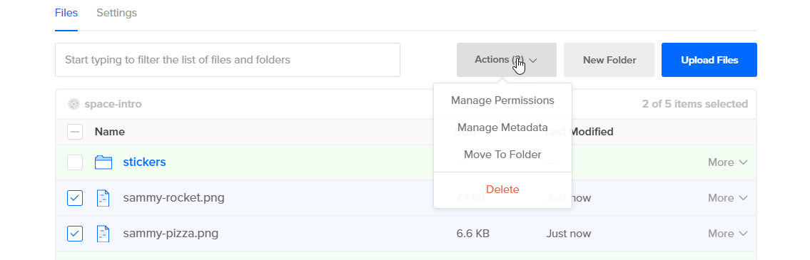Screenshot of Action options when only files are selected