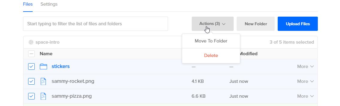 Screenshot of Action menu options when a folder is added