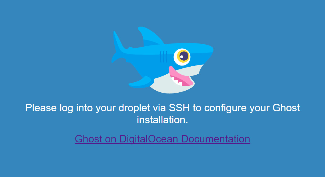 Screenshot displaying the message to log in via SSH and a link to this documentation