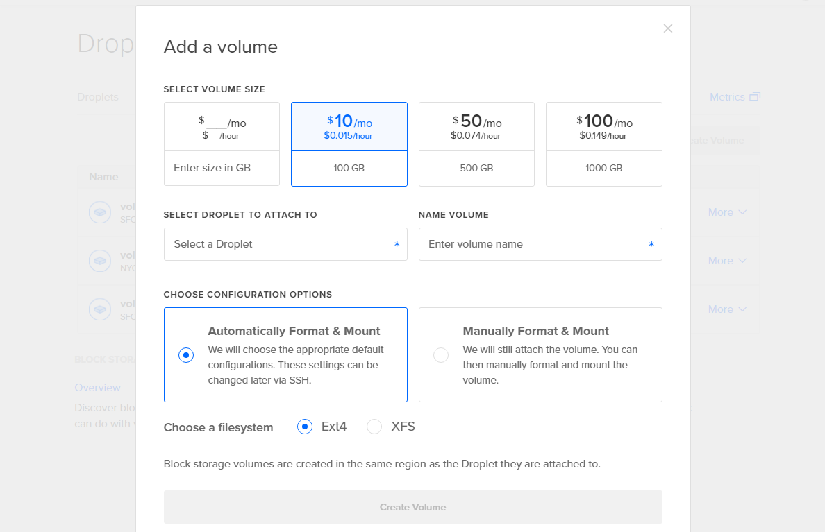 Screenshot of the Add volume screen