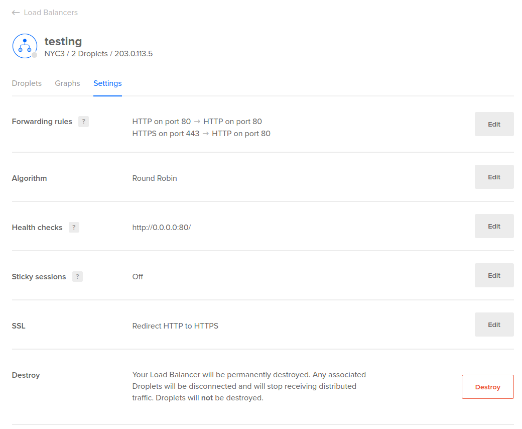 DigitalOcean Load Balancer settings