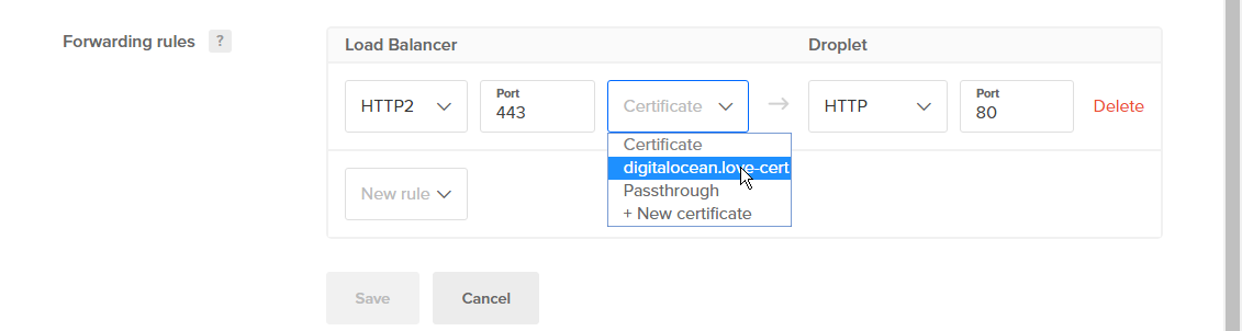 Selecting an existing certificate