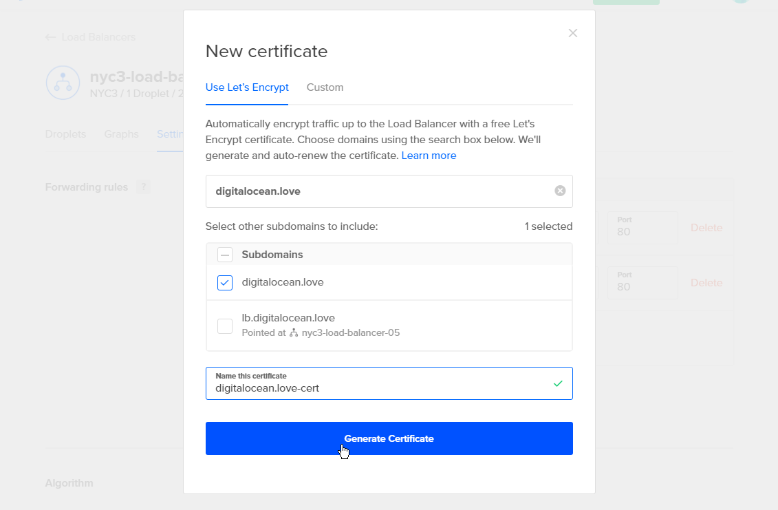 Generate Certificate is activated when the name for the certificate is entered