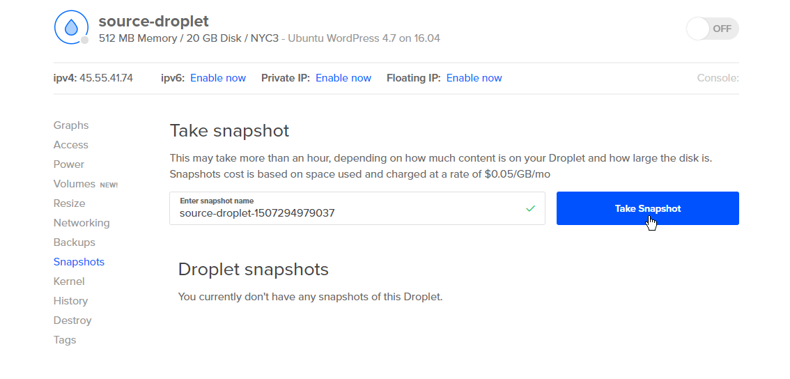 Screenshot of the Take Snapshot button which displays when the Droplet is powered off