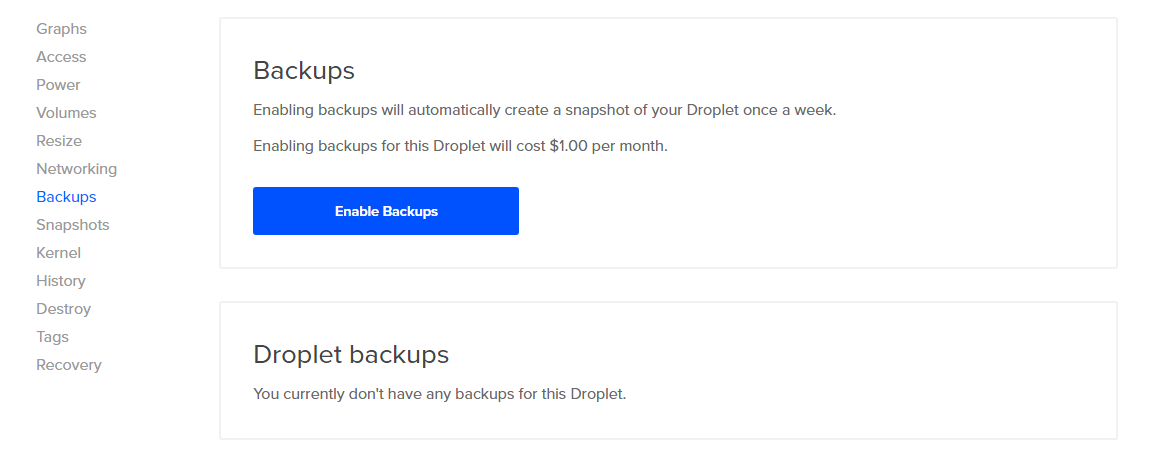 Enable Backups for an Existing Droplet