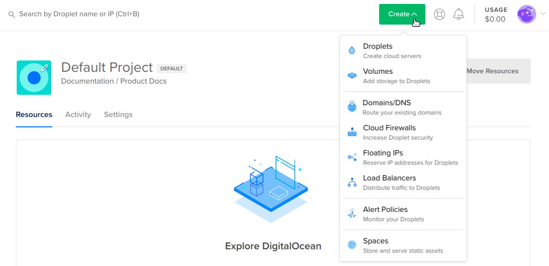 DigitalOcean Monitoring link
