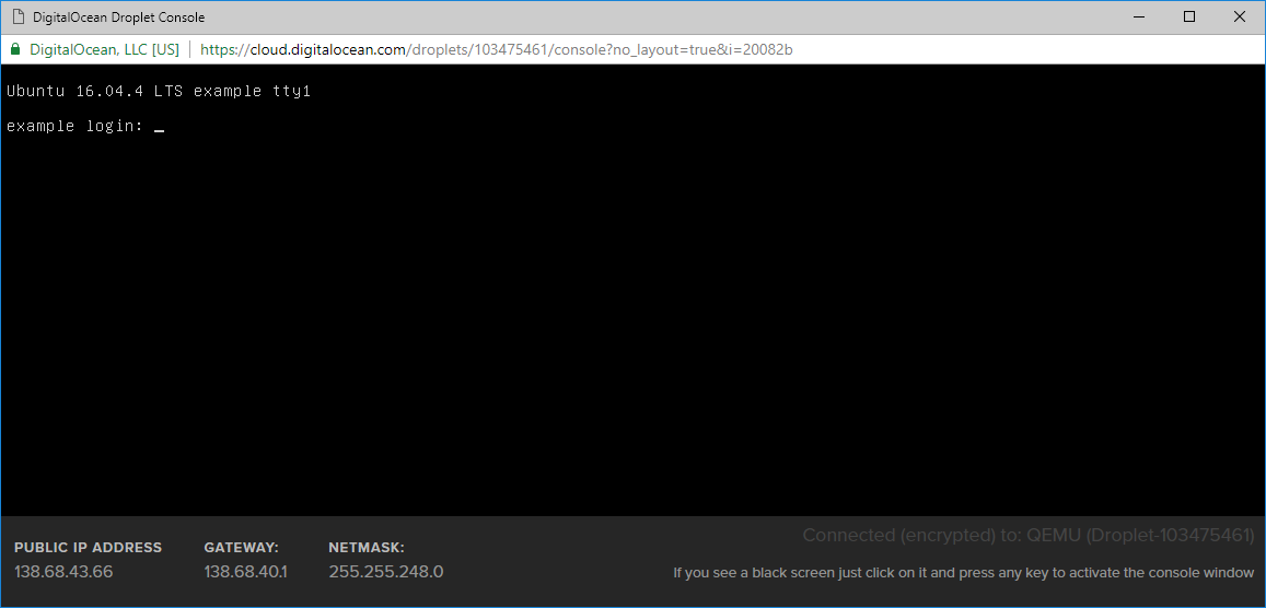 Screenshot of the DigitalOcean console login prompt