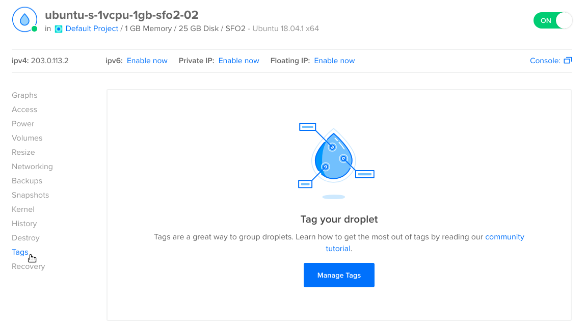 Screenshot of the Droplet page with Tags emphasized