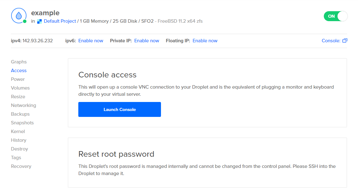 DigitalOcean reset root pass