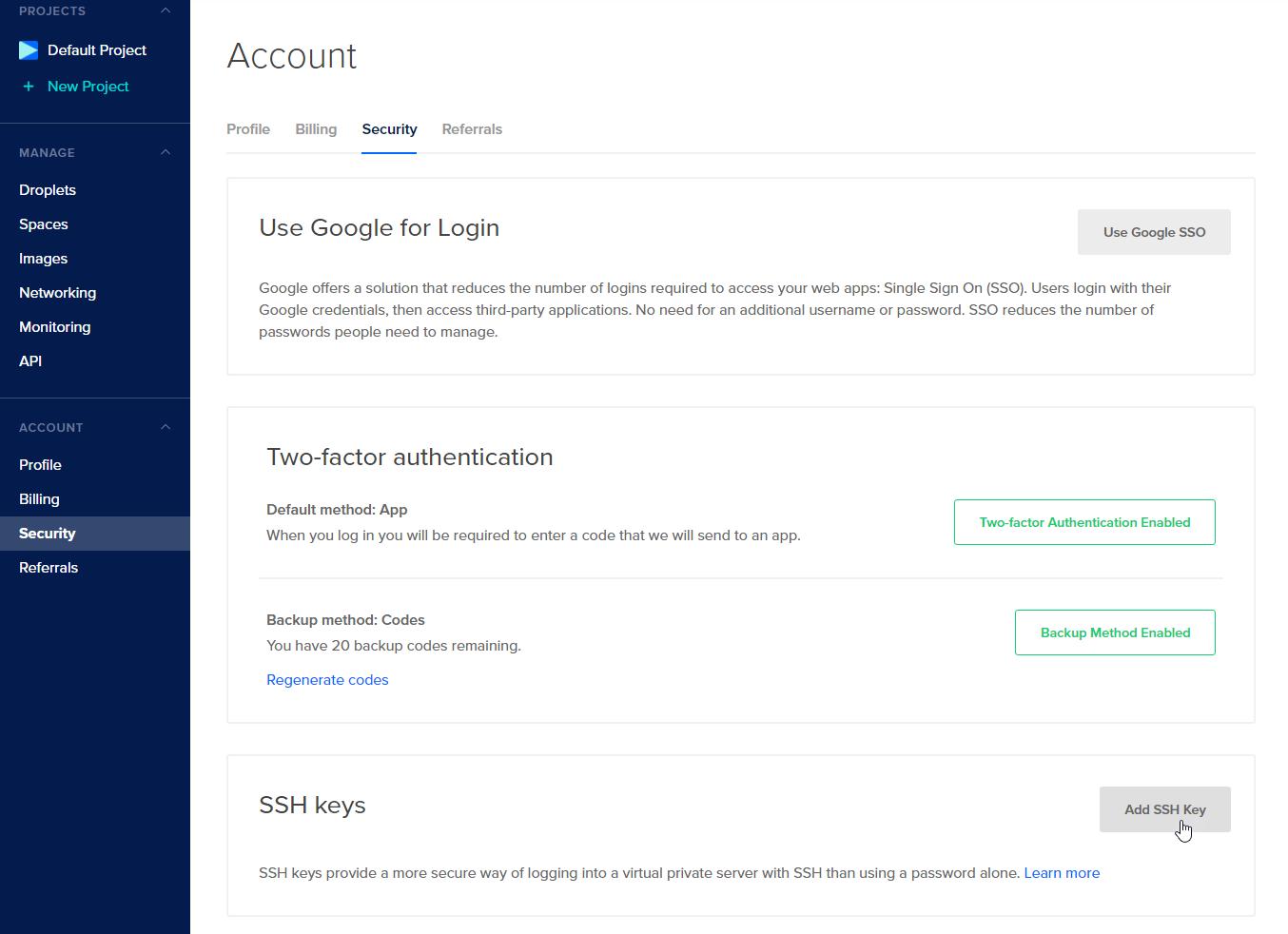 DigitalOcean add new key button