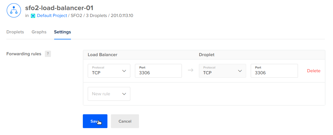 Change default forwarding rule in DigitalOcean Load Balancer