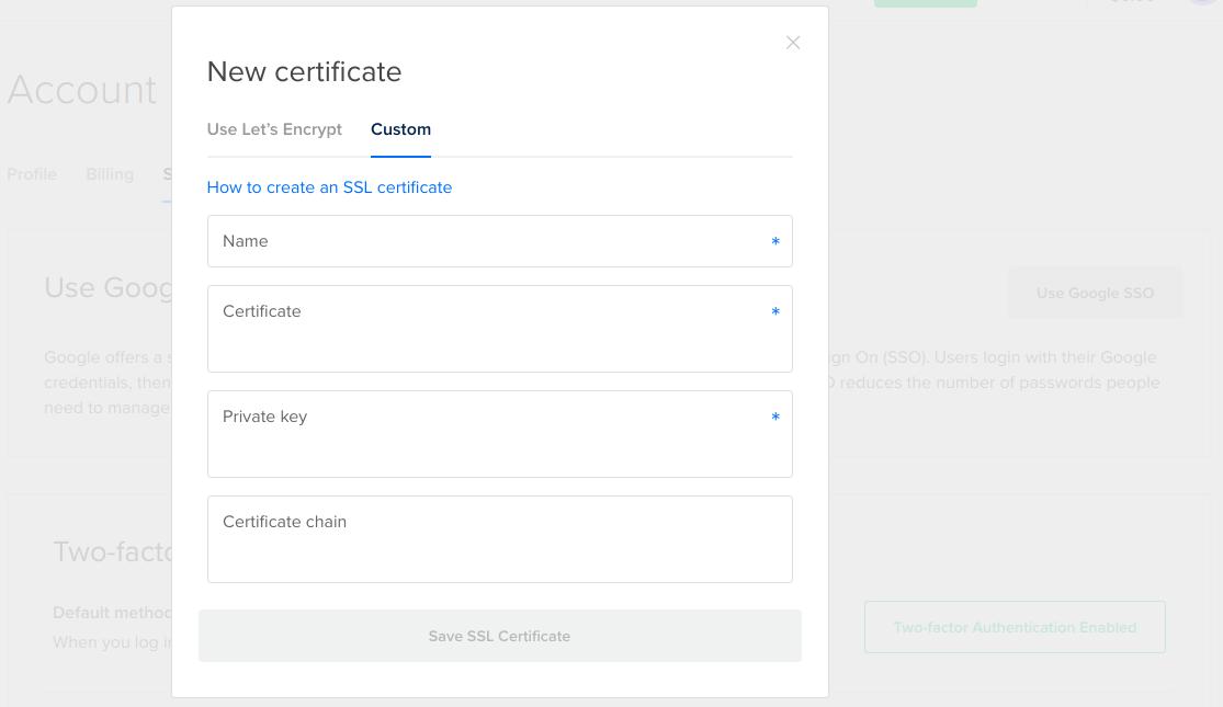 How To Use Custom Ssl Certificates Digitalocean Product Documentation