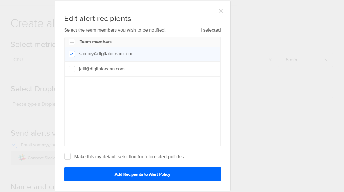 DigitalOcean add more recipients