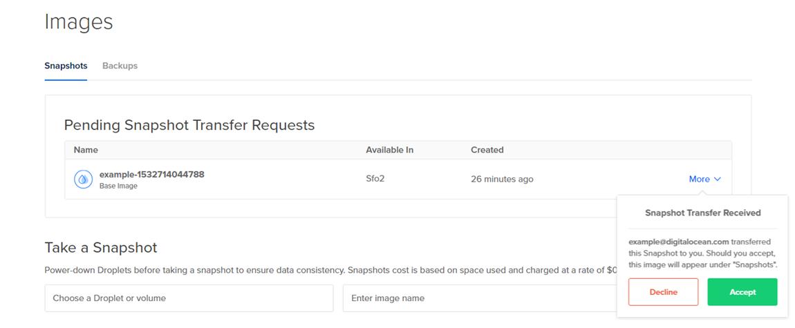 Screenshot of a Pending Transfer request