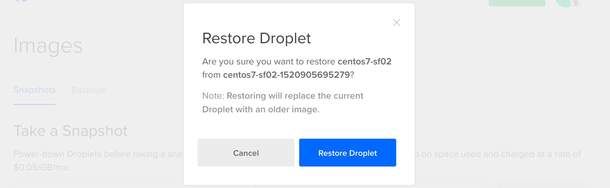 Restore Droplet Confirmation
