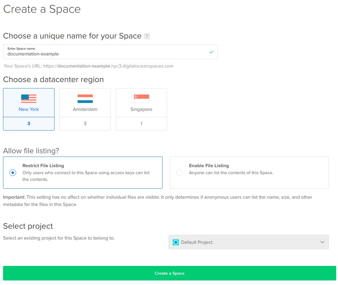 Screenshot of Create a Space screen