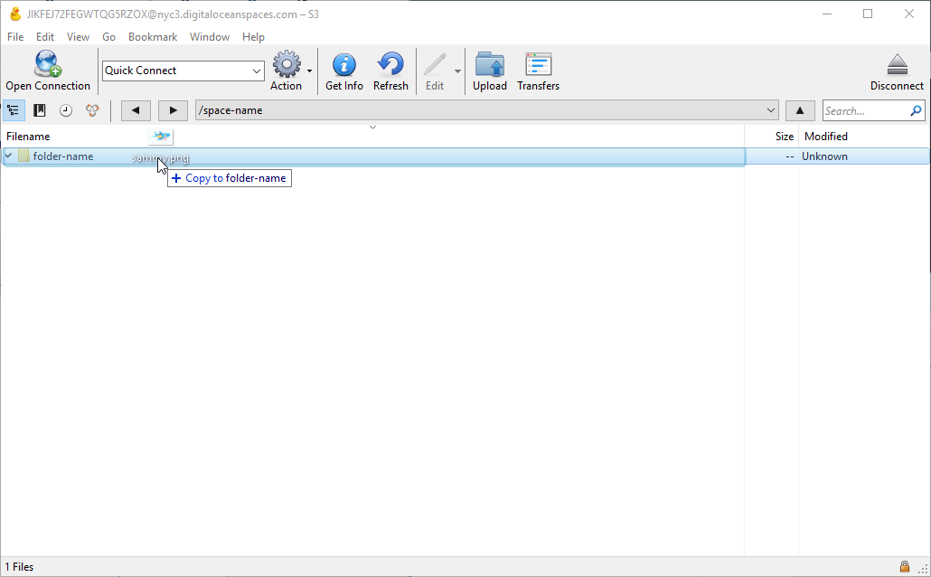 """Screenshot of dropping """"sammy.png"""" into the folder when its name is highlighted."""
