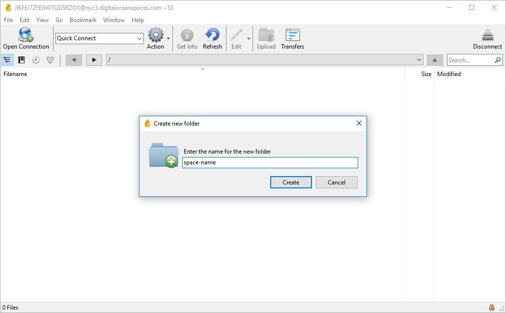 Screenshot of Create new folder dialogue