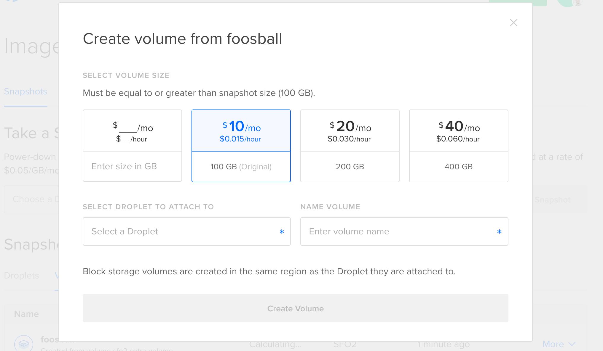 Create Volume Options