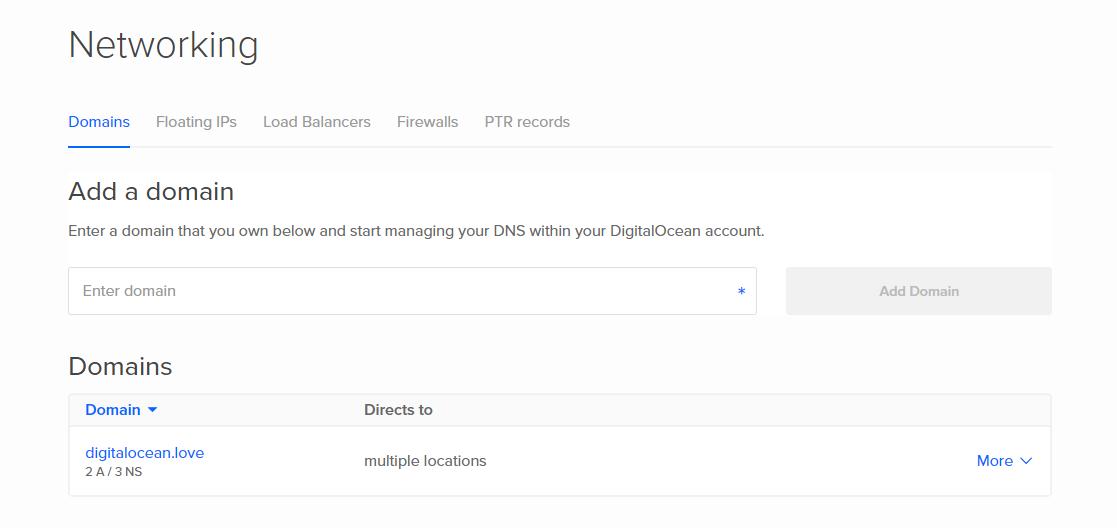 DigitalOcean DNS page