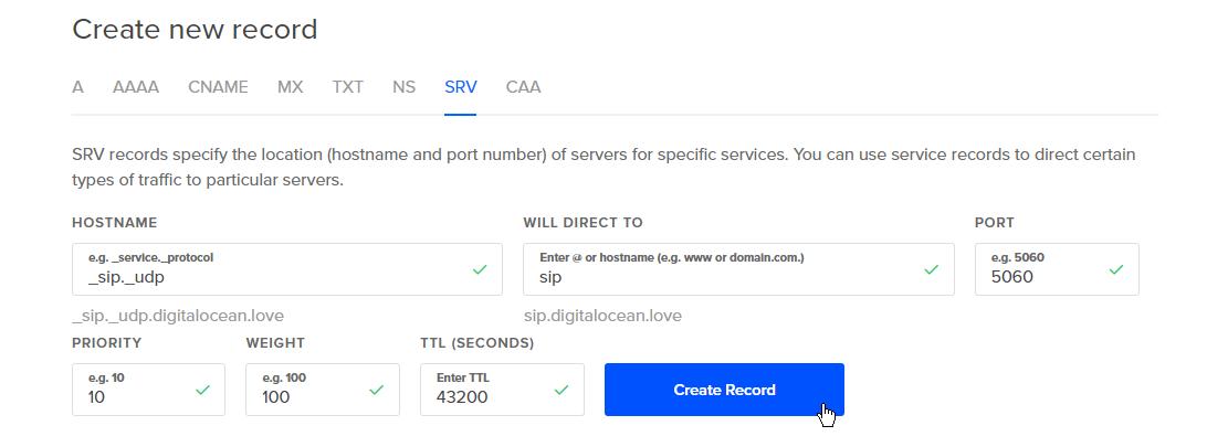 Screenshot of SIP configuration described below