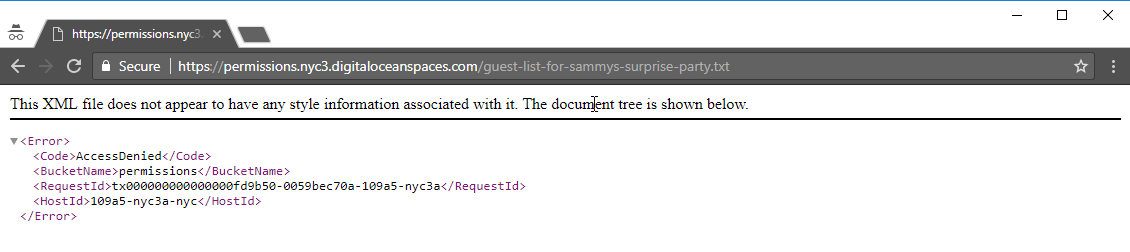 Screenshot of access denied message for the guest list